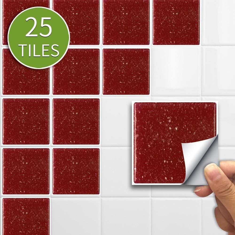 10cm/15cmx25pcs Buby Red Mosaic PVC Waterproof Self Adhesive Wall Sticker Tile Sticker For Kitchen Bathroom Furniture SJ011