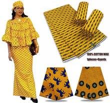 Tela de cera de Ankara africana para vestido, tejido de algodón suave de cera estilo nigeriana para vestido LY495, 100%, último diseño de moda, muy popular, 2021