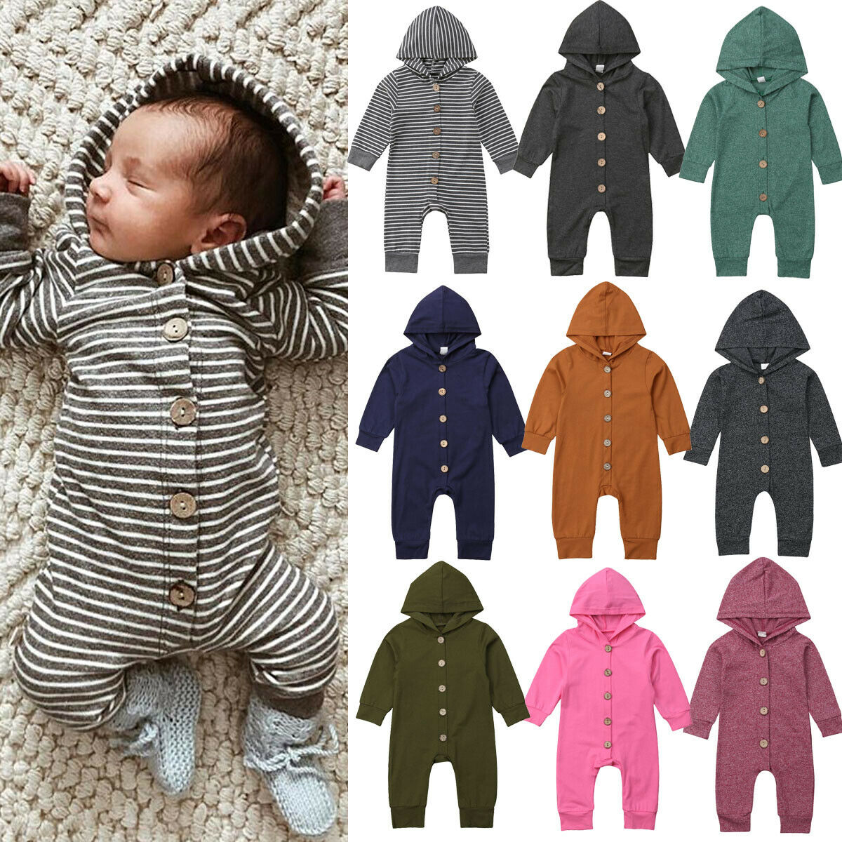 Spring Autumn Newborn Jumpsuit Infant Clothes Kids Baby Boys Girls Long Sleeve Hooded Solid Rompers Outfits 0-24M