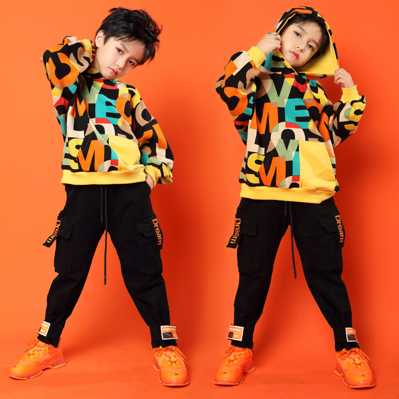 Kids Cool Letters Print Hoodie Sweatshirt Tops Running Casual Hip Hop Pants Clothing For Girls Boys Jazz Dance Costume Clothes