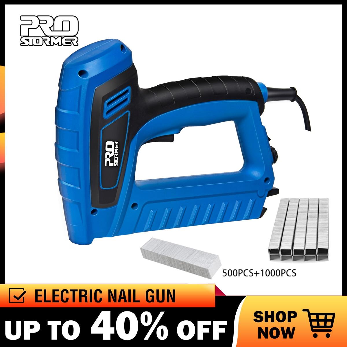PROSTORMER 2000W Woodworking Eletric Nail Gun 220V-240V Power Nailer Stapler Straight Nail& Door Nail Staplers Power Tool