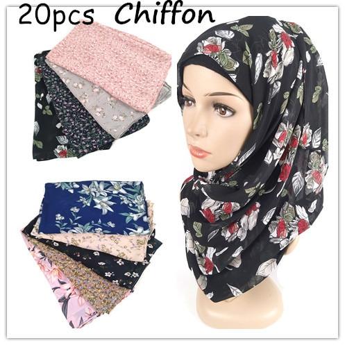 D93   20pcs  High Quality Flower Printed Chiffon Hijab Scarf Lady Scarf/scarves Long Wrap Headband  Maxi  180*75cm