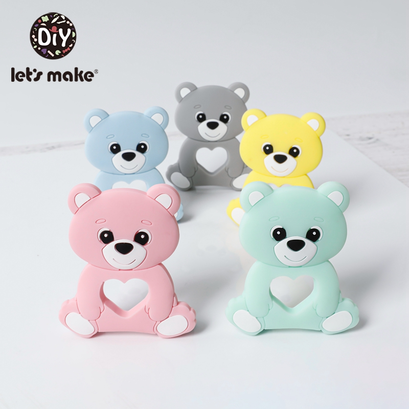 Let'S Make 5Pc Baby Teether Silicone Silicone Teethers Bpa Free Food Grade Silicone Bear Cartoon Beads Stroller Baby Teether