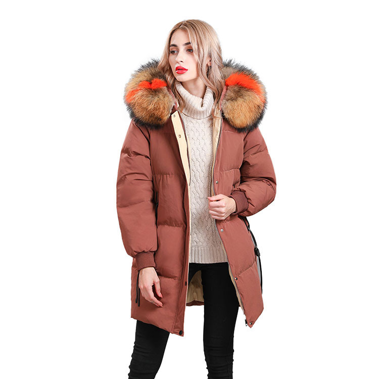 Natural Raccoon Fur Collar 2020 Winter Duck Down Luxury Jacket Woman Long Loose Coat Hooded Parkas Abrigos Mujer LX2238