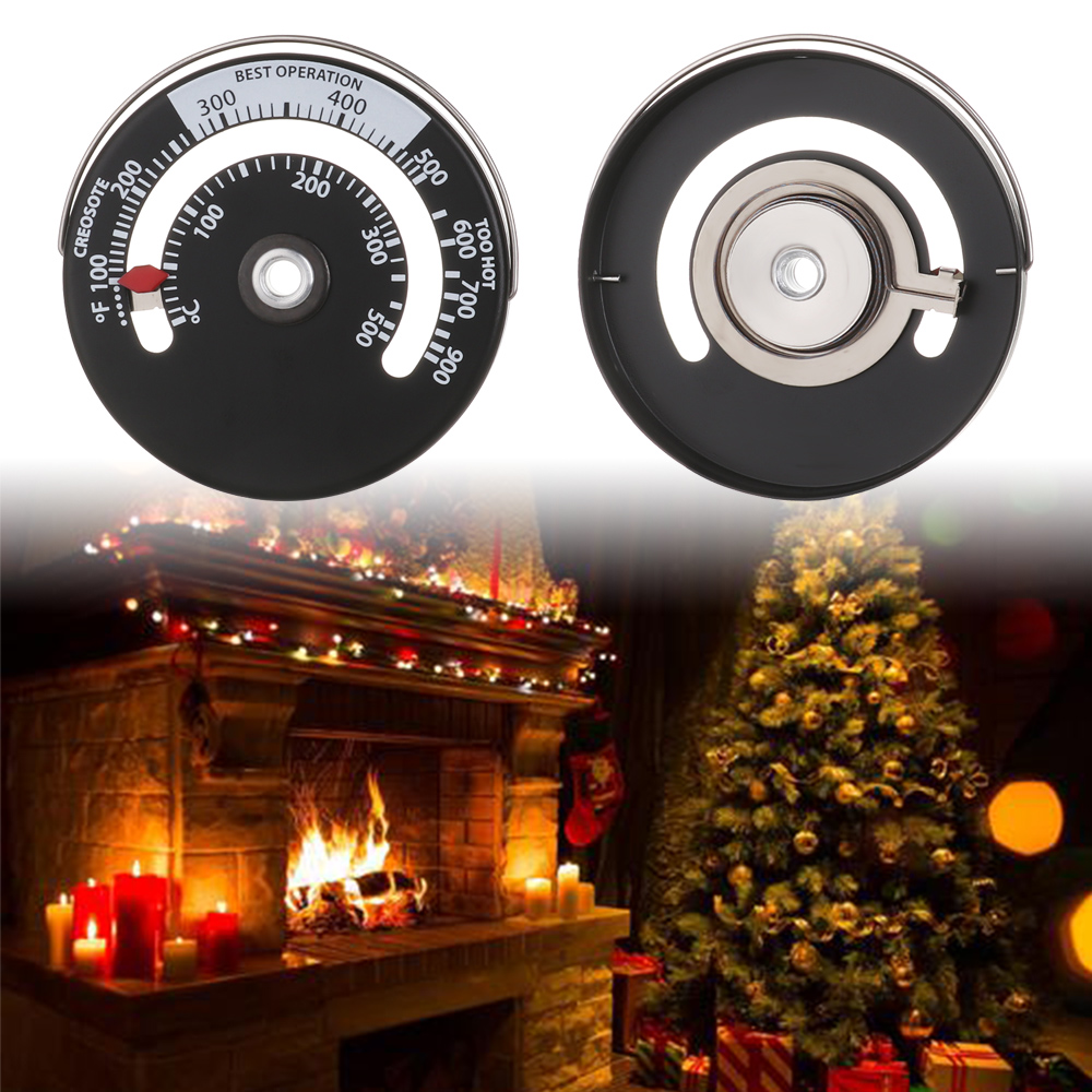 1pc Magnetic Stove Thermometer Aluminum Fireplace Thermometer Home Stove Thermometer Fireplace Fan Thermometer High Precision