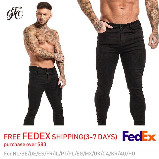 GINGTTO-pantalones vaqueros elásticos para hombre, Vaqueros ajustados de cintura para hombre, pantalones con diseño rasgado, ropa de calle, Vaqueros azules para hombre 2020 2