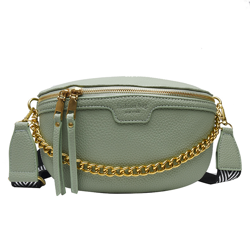 Designer Women's Belt Bag PU Leather Chain Fanny Pack Bananka Bag On A Belt Fashion Wild Satchel Women Belly Band Waist Bag