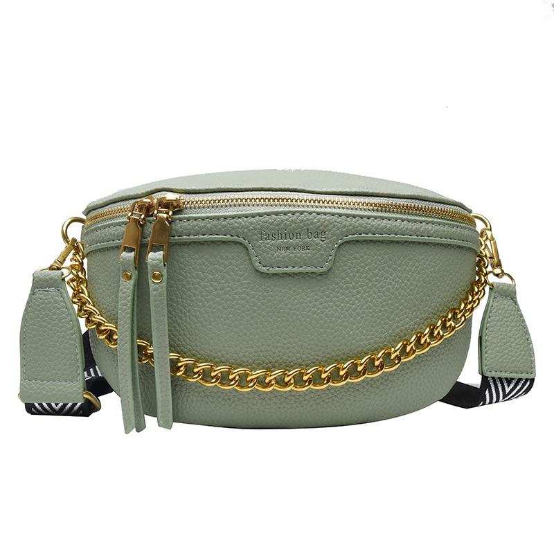 Designer Women's Belt Bag PU Leather Chain Fanny Pack Bananka Bag On A Belt Fashion Wild Satchel Women Belly Band Waist Bag