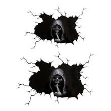 Crânio assustador decalques adesivo para carros à prova dwaterproof água osso esqueleto janela pára-choques caminhão suv casa porta adesivo de parede acessórios do exterior