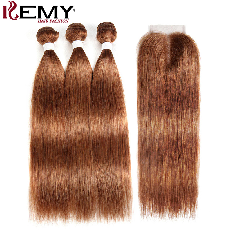Brazilian Straight Human Hair Bundles With Closure KEMY HAIR 3PCS Brown Hair Weave Bundles With Closure Non-Remy Hair Bundles