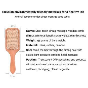 Wood Comb Extremely Elastic Soft Air Sac Orifice Professional Healthy Paddle Cushion Massage Hairbrush Scalp Hair Care 5