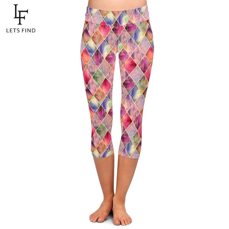 LETSFIND Summer Push Up Women Fitness Capri Leggings 3D Diamond Geometric Printing High Waist Mid-Calf 3/4 Leggings Plus Size