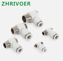 White OD 4 6 8 10 12mm - M5 1/8'' 1/4'' 3/8'' 1/2'' PH Hexagonal Pneumatic Male Elbow Connector Tube Air Push In Fitting pack of 10 tube od 6 mm x 1 4 bsp push in to connect fitting male straight connector pneumatic air fitting pc6 2