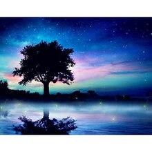 Diy картина маслом по номерам дерево Раскраска пейзаж 40 х 50
