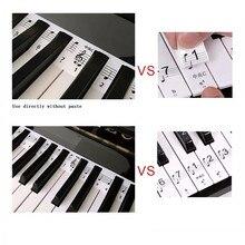 شفافة البيانو ملصقا 88 مفتاح لوحة مفاتيح البيانو ملصقا لوحة المفاتيح الإلكترونية 88 مفتاح البيانو ستاف ملاحظة ملصق Keys البيانو