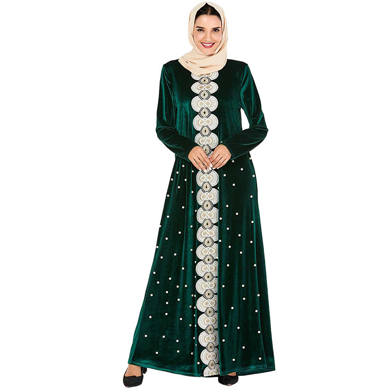 Muslim Dress Green Velvet Abaya Dubai Turkish Hijab Dresses Kaftan Caftan Marocain Abayas Islamic Clothing For Women Kleding