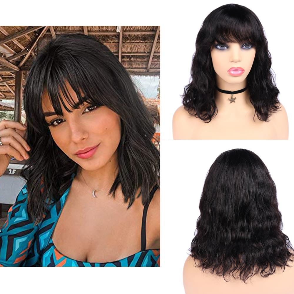 Wignee Natural Wave Human Hair Wigs For Black Women 150% High Density Brazilian Remy Hair Short Bob Human Wigs With Free Bangs