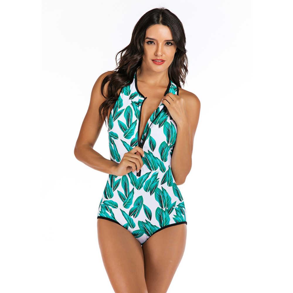 2020 جديد مجموعة البكيني النساء ورقة طباعة مفتوحة الكتف ملابس السباحة قطعة واحدة ملابس السباحة انتفض عالية الخصر السباحة دعوى Tankinis