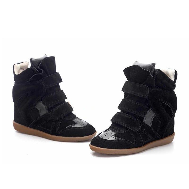 Модная обувь на скрытой танкетке для подиума; женские замшевые ботильоны; кроссовки; разноцветная повседневная обувь с высоким берцем; сезо... - 2
