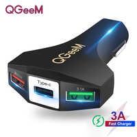QGEEM QC 3.0 USB C ładowarka samochodowa szybka ładowarka 3.0 Auto szybka ładowarka Adapter młotek 3 USB-C przenośna ładowarka samochodowa dla iPhone xiaomi
