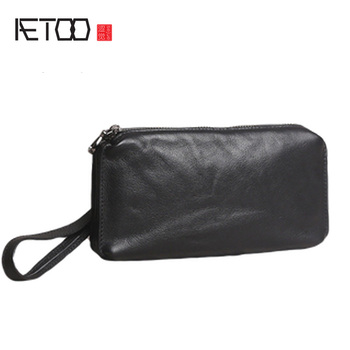 AETOO Mens handbags, leather head-layer cow large-capacity casual soft long wallets