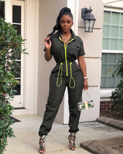 Summer Jumpsuit Women Short Sleeve Overalls Large Size Casual Female Jumpsuit Lady Safari Style Romper Sexy Drawstring Jumpsuits