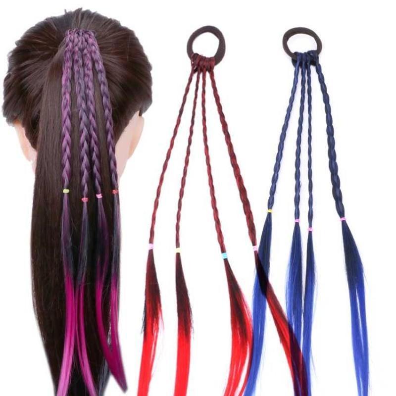 Girls Colorful Wig Ponytail Hair Ornament Wig Headband Rubber Bands Hair Bands Headwear Kids Twist Braid Rope Hair Accessories 2