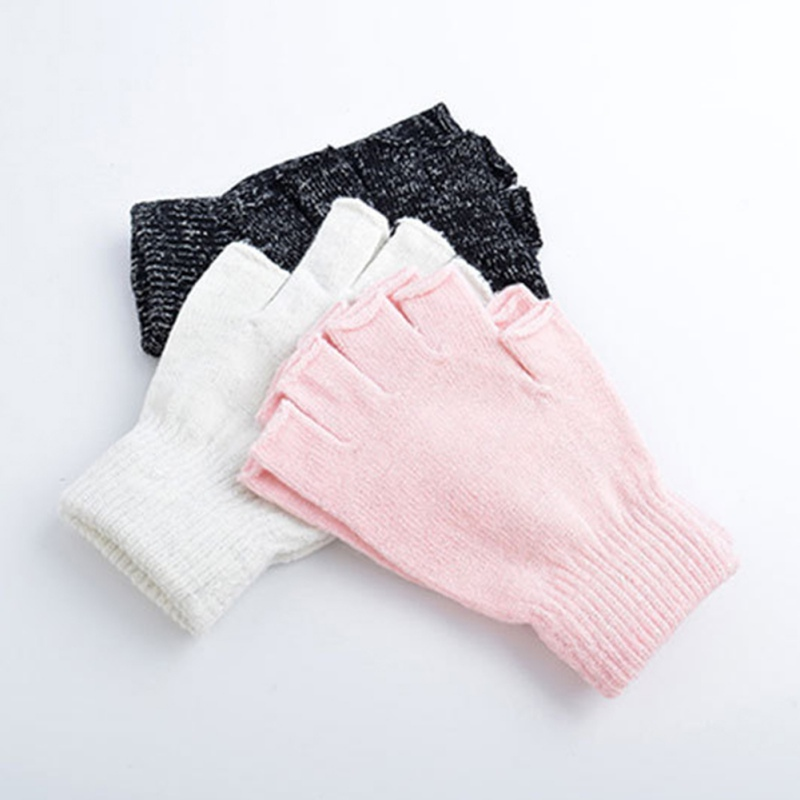 Korean Style Solid Color Half Finger Knitted Stretch Soft Warm Mittens Autumn Winter Women Men Thin Elastic Fingerless Gloves