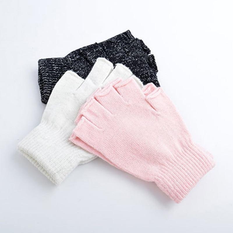Korean Style Solid Color Half Finger Knitted Stretch Soft Warm Mittens Autumn Winter Women Men Thin Elastic Fingerless Gloves