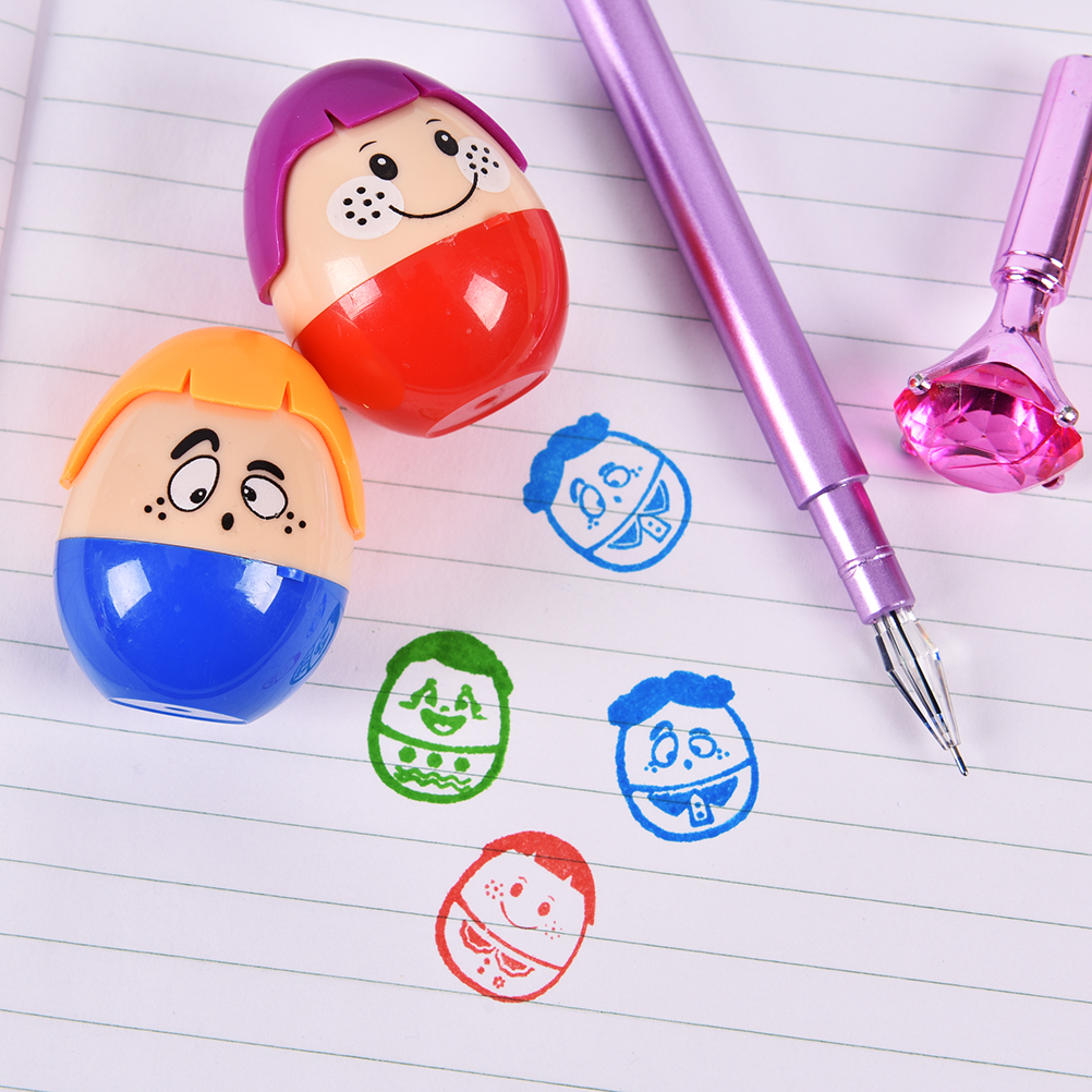 2PCS Lovely Clown Stamp Children Diy Handmade Scrapbook Album Stamps Diary Decoratio Toy Gifts