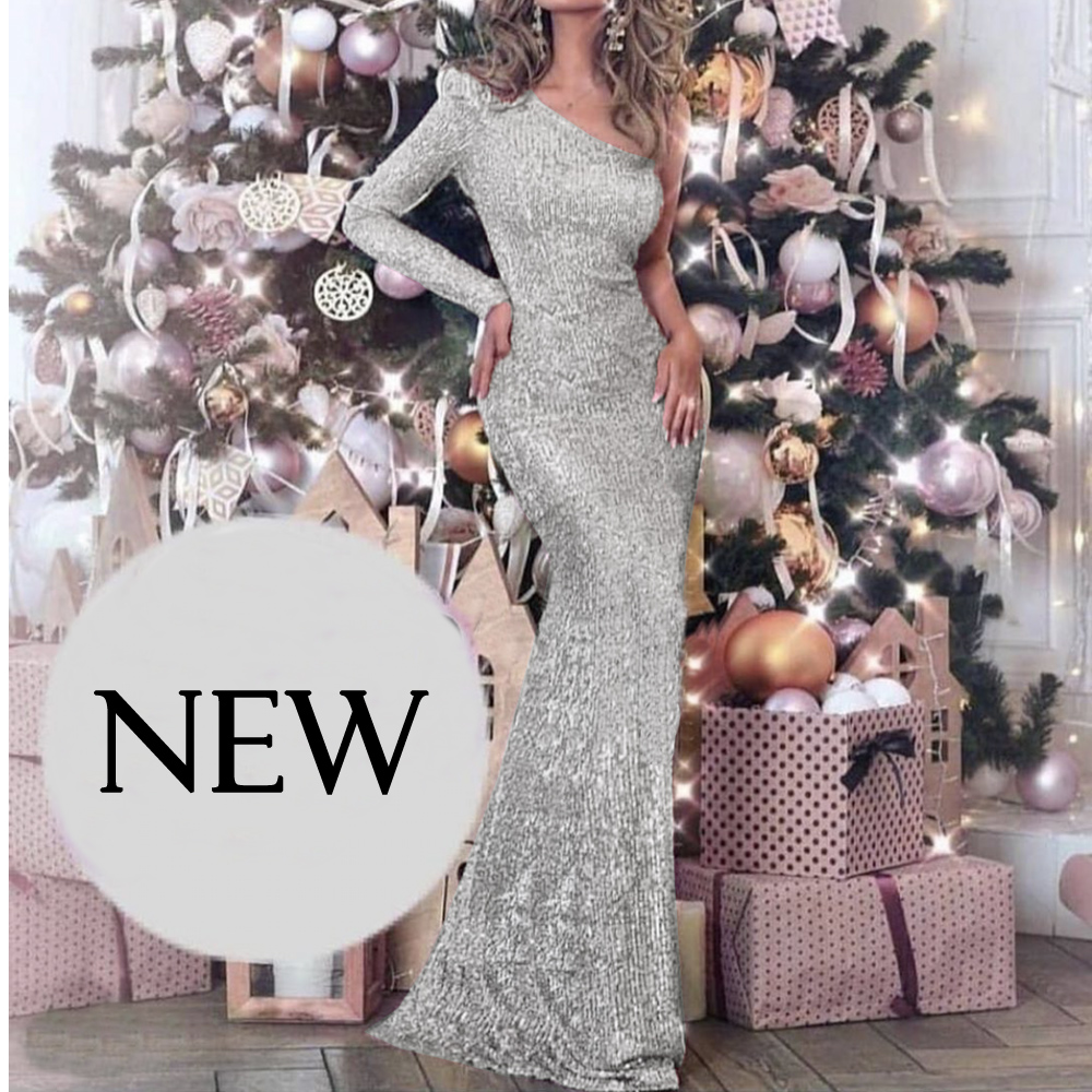 One Shoulder Silver Sequined Maxi Dress Back Split One Sleeve Night Party Dress Striped Sequins Backless Long Dress|Dresses| - AliExpress