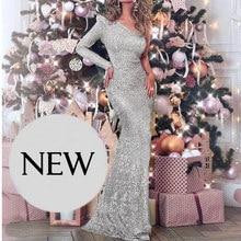 Jedno ramię srebrne cekinowe sukienki Maxi na plecy sukienki Split One Sleeve suknia wieczorowa w paski cekiny bez pleców, długa sukienka