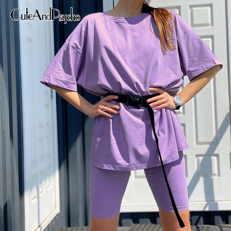 Basic Oversize Two Piece Short Set For Women Casual Tshirt And Shorts Set Homewear Streetwear Joggers Women 2 Sets Cuteandpsycho