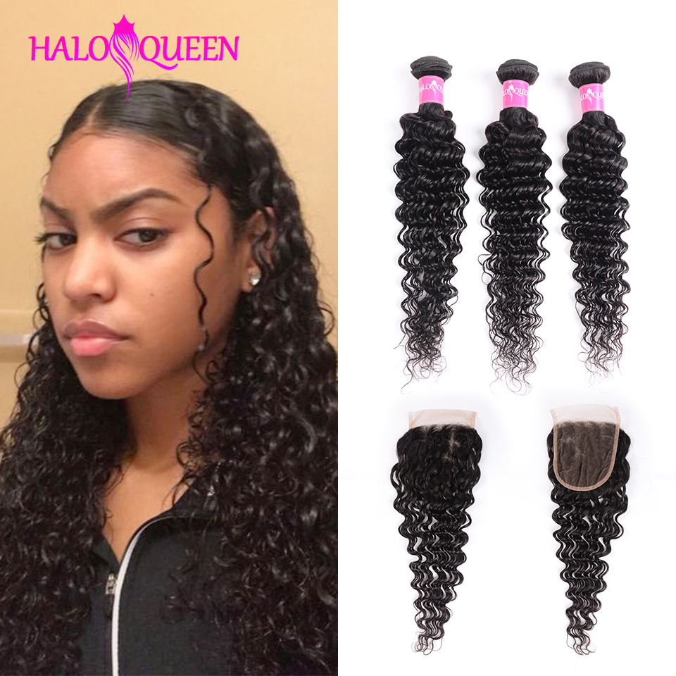 HALOQUEEN Deep Wave Bundles With Closure Human Hair Bundles With Closure Hair Extension Peruvian Hair 3 Bundles With Closure