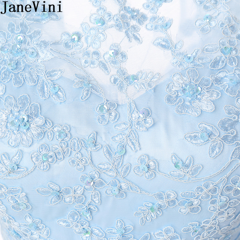 JaneVini Sky Blue Lace Homecoming Dresses Crystals Short Tulle Bleu A Line Keyhole Back Mint Women Special Occasion Dress Gowns