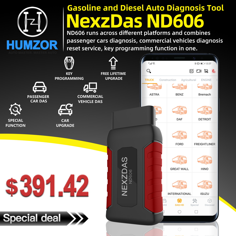 Humzor nd606 nd606 obd2 leitor de código carro diagnóstico obd2 scanner para carro de passageiros e caminhão resistente ferramenta de diagnóstico