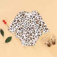 0 24M,0 18M Infant Baby Girls Boys Long Sleeve Leopard Rompers Kids Sleeveless Bodysuit With Headband