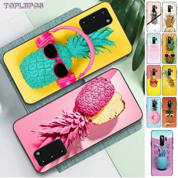 TOPLBPCS pink gold Art marble printed pineapple Fruit TPU Phone Case for Samsung S6 S10 5G S7 EDGE S8 S9 S10 S20 PLUS S10Lite image
