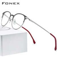 Titane alliage lunettes cadre hommes ultralégers femmes Vintage rond Prescription lunettes rétro optique cadre sans vis lunettes