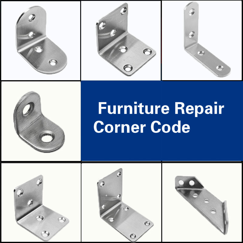 Corner Code 10pcs/lot Stainless Steel Furniture Diy Bracket Thickness L-shaped Stool Chair Bed Table Repair Corner Brackets