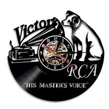 Wall-Clock Nipper-Decor Voice-Musical-Dog Victor Modern-Design RCA Master's Dog-His