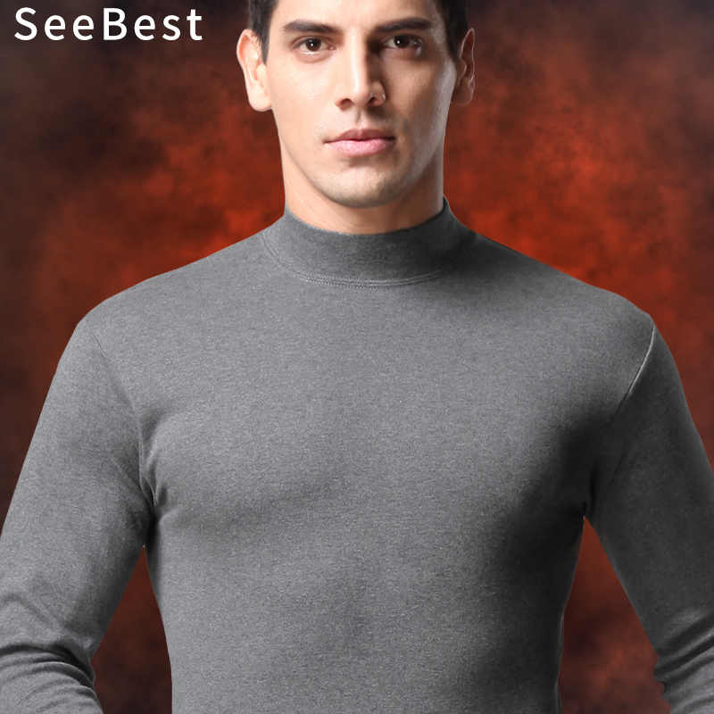 SeeBest High Neck Thermal Underwear Suit Winter Men Long Johns Set For Father Warm Clothes Cotton Middle Size Fat XXXL Inner