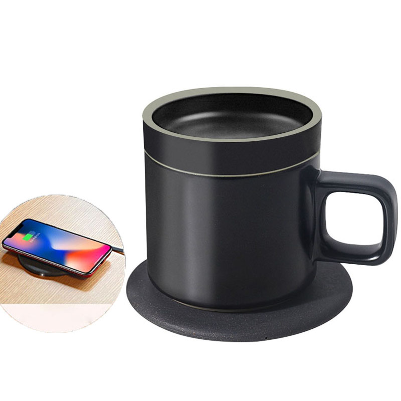 100 240V Cup Heater 55 Celsius Thermos Coffee Milk Warm Cup with Wireless Charging Base Mug Warmer Desktop Heating Tool