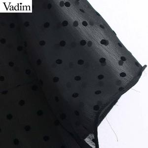 Image 3 - Vadim נשים שיק נקודות עיצוב שיפון שחור midi שמלה קצר שרוול נקבה אופנתי מוצק אמצע עגל שמלות קיץ vestidos QD116