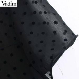 Image 3 - فستان نسائي من Vadim بتصميم أنيق من الشيفون باللون الأسود متوسط الطول بأكمام قصيرة فساتين نسائية أنيقة بتصميم منتصف الساق فساتين صيفية QD116