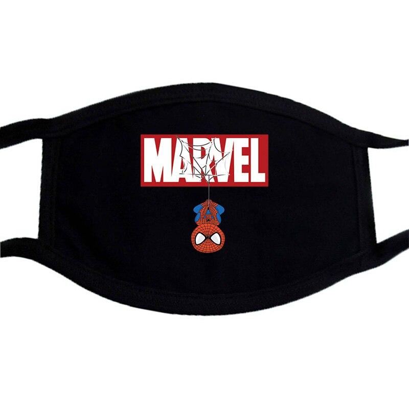 The Avengers Spiderman Unisexe Masques Visage Noir Bicouche Coton Chaud Mode D'impression Bouche-Muffle Masque Lavable Anti-Pous