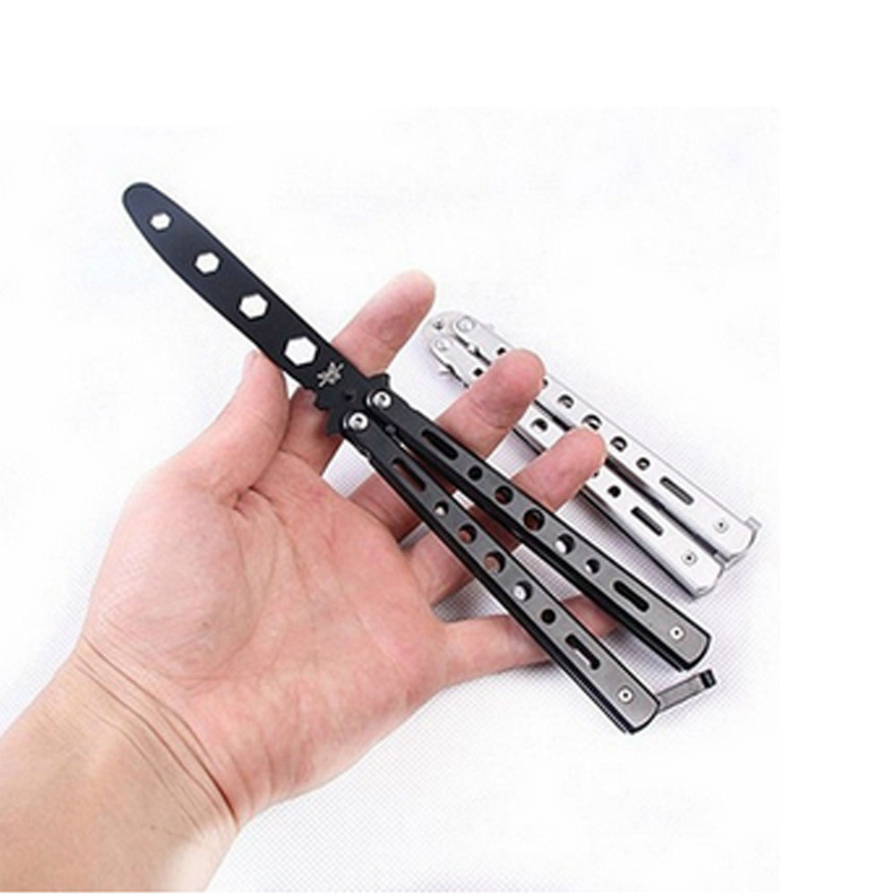 Butterfly Black Metal Balisong Trainer Training  Flail Knife Dull Tool Practice Toy Knife