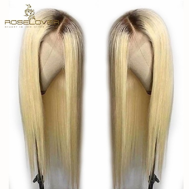 #4/613 Pre Plucked Lace Front Human Hair Wigs Straight Ombre Honey Blonde Lace Front Wigs Colored Peruvian Wig with Baby Hair 4