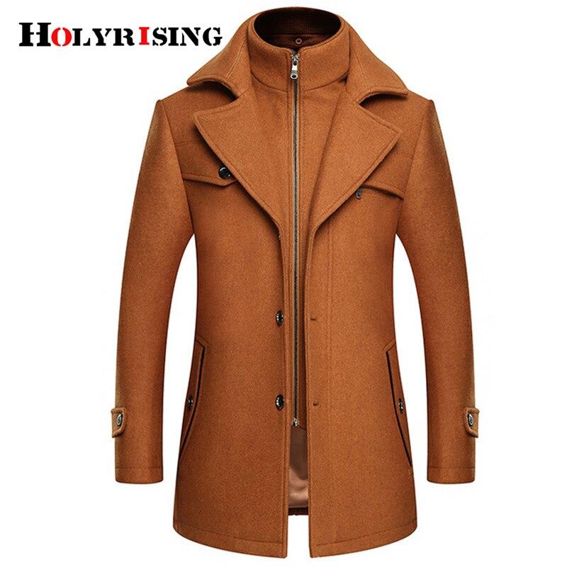 Holyrising Men Abrigo Hombre Coat Turn Collar Para Hombre Wool Coat Zipper Soft Overcoat Warm Mens Coat M-4XL 18924-5