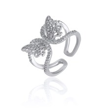 Silver fashion jewelry Inlay Butterfly Ring hollow butterfly ring opening ring цена 2017